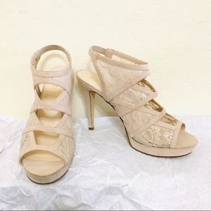 NWT Nine West Taupe Suede Lace Gladiator Heels